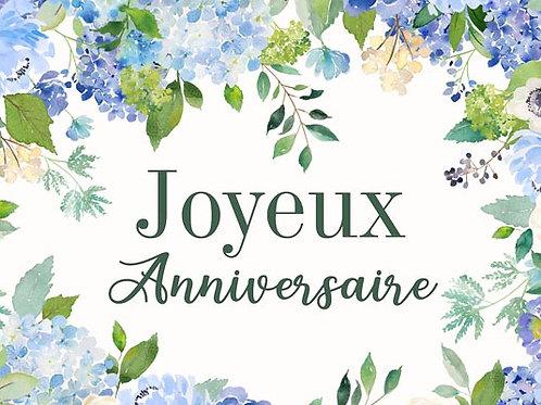 Carte fleuriste x 25 - Anniversaire Hortensia bleu
