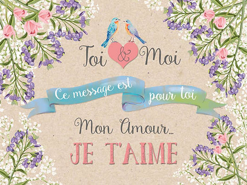 Carte message fleuriste x 25 - Toi & Moi