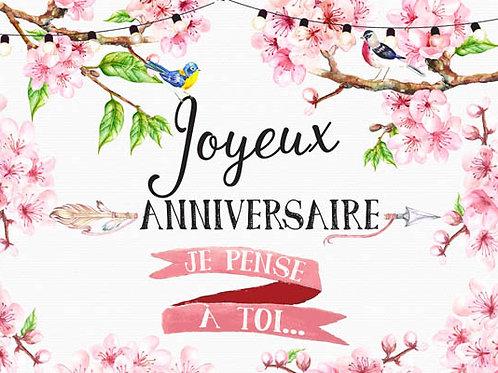 Carte message Fleuriste x25 - Anniversaire Fleurs Cerisier