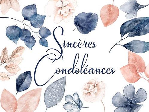 Carte fleuriste x 25 - Sincères Condoléances