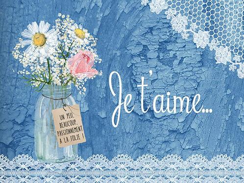 Carte message fleuriste x 25 - Je t'aime