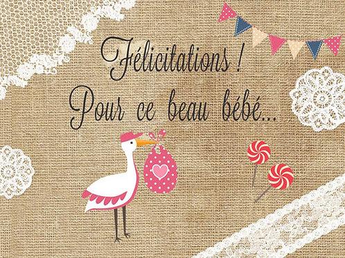 Carte fleuriste x 25 -Félicitation beau bébé Fille- Réf FL015