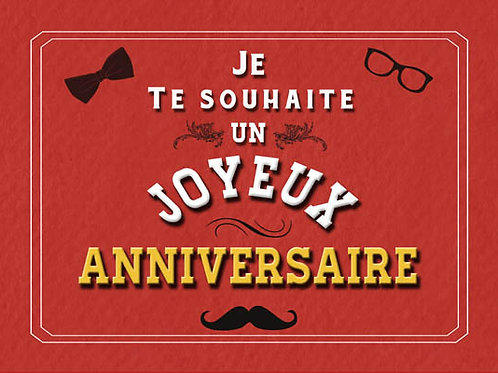 Carte fleuriste x 25  -Joyeux Anniversaire Papillon Moustache- Réf FL043