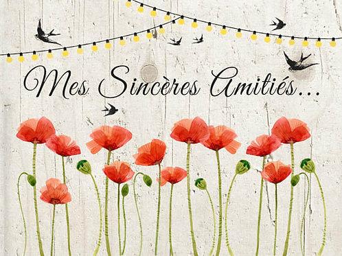 Carte fleuriste x 25 -Sincères Amitiés- Réf FL006