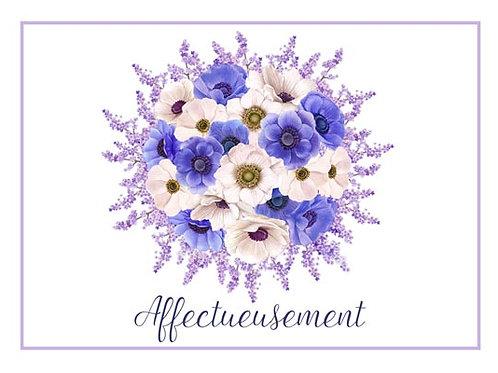 Carte fleuriste x 25 - Affectueusement