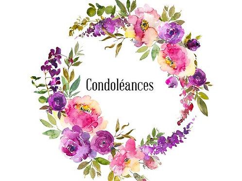 Carte fleuriste x 25 - Condoléances couronne florale
