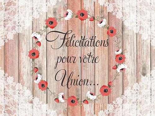 Carte fleuriste x 25 -Félicitation pour votre union- Réf FL016