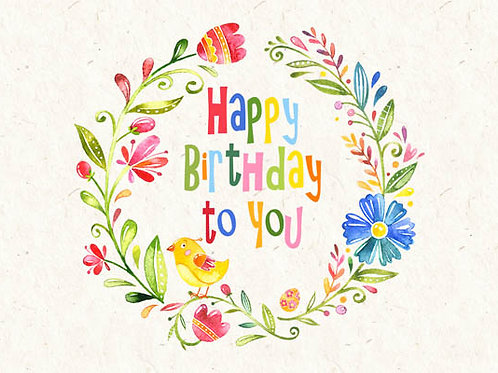 Carte message fleuriste x 25 - Happy Birthday