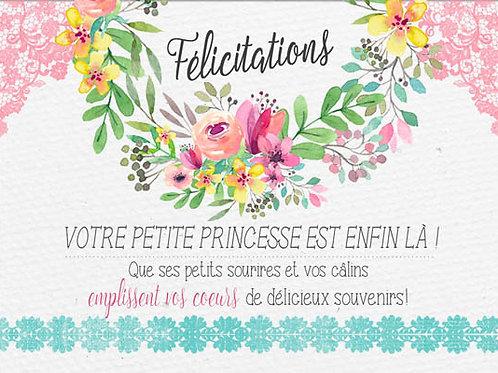 Carte message fleuriste x 25 - Félicitations Naissance