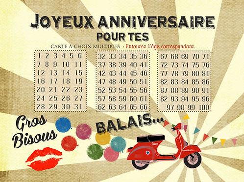 Carte fleuriste x 25  -Joyeux Anniversaire pour tes ...Balais- Réf FL048