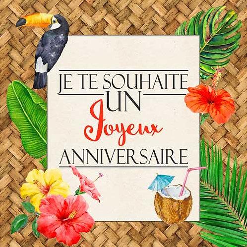 Carte de voeux  x 15  -Joyeux Anniversaire Tropiques- Réf DA010