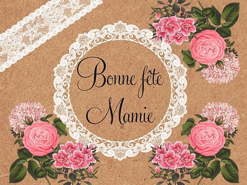 Carte fleuriste x 25  -Bonne Fête Mamie- Réf FL035