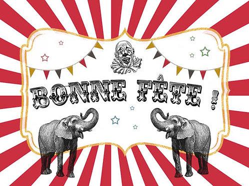 Carte fleuriste x 25 - Bonne Fête Cirque- Réf FL003