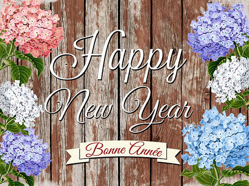 Carte fleuriste x 25  -Happy New Year- Réf FL040