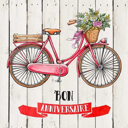 Carte de voeux  x 15  -Anniversaire vélo fleuri- Réf DA021