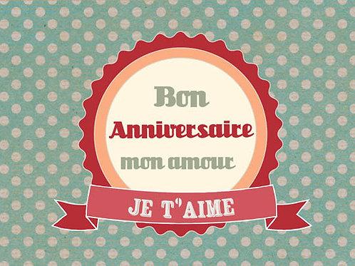 Carte fleuriste x 25  -Bon Anniversaire Mon Amour- Réf FL046
