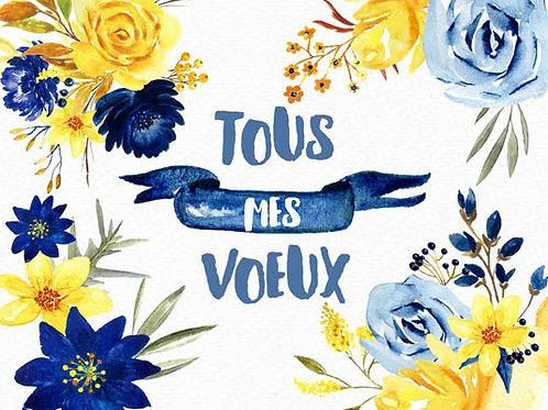 Carte message fleuriste x 25 - Voeux