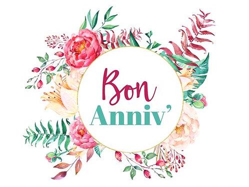 Carte fleuriste x 25 - Bon Anniv' Couronne Fleurs