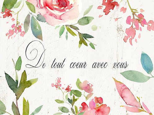 Carte fleuriste x 25 - De tout coeur
