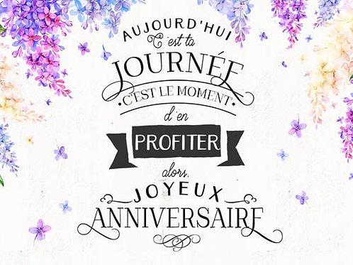 Carte fleuriste x 25 - Anniversaire Lilas