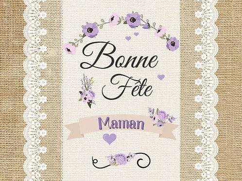 Carte fleuriste x 25  -Bonne fête Maman dentelles- Réf FL038