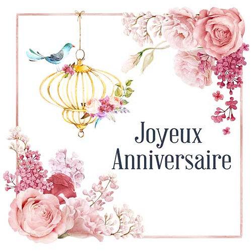 Carte de voeux  x 15  -Joyeux Anniversaire Romantique- Réf DA024