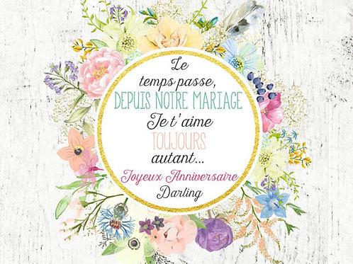 Carte message fleuriste x 25 - Anniversaire Couronne Florale