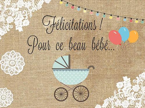 Carte fleuriste x 25 -Félicitation beau bébé garçon- Réf FL014