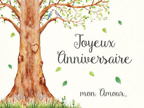 Carte message fleuriste x 25 - Joyeux Anniversaire Arbre