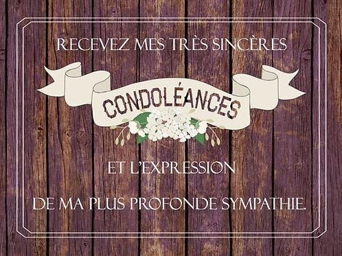 Carte fleuriste x 25  -Recevez mes très sincères condoléances- Réf FL027
