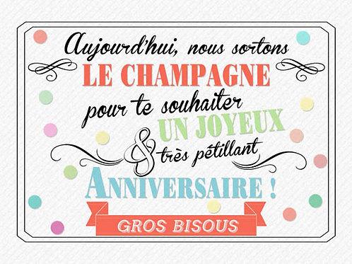 Carte message fleuriste x 25 - Anniversaire Champagne