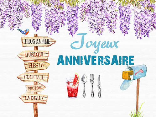 Carte message fleuriste x 25 - Anniversaire Glycine