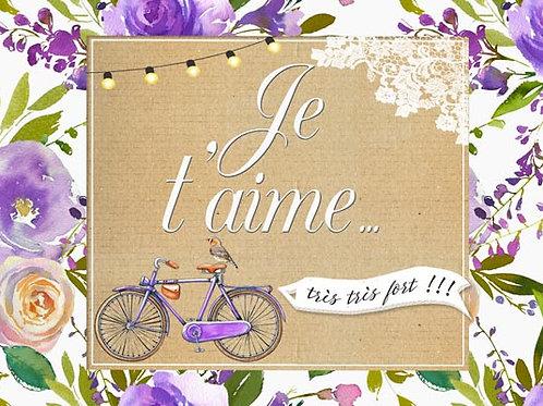 Carte fleuriste x 25 - Je t'aime romantique