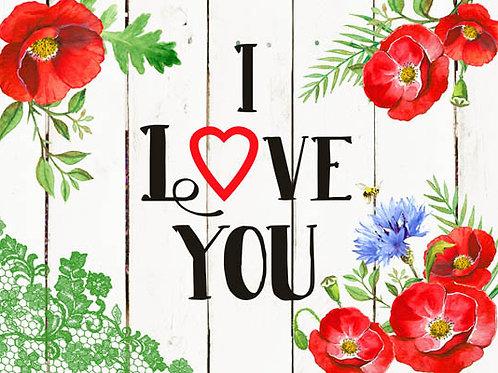 Carte message fleuriste x 25 - I Love You Coquelicot