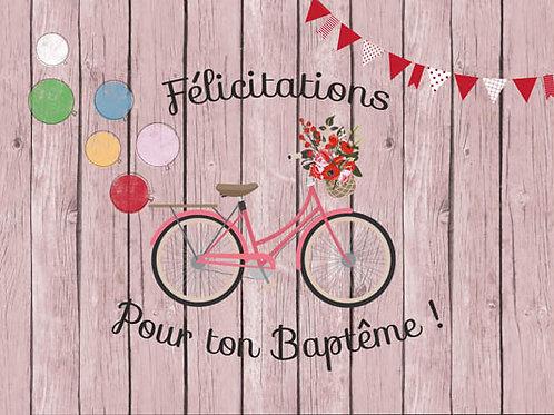 Carte fleuriste x 25 -Félicitation Baptême Fille- Réf FL021