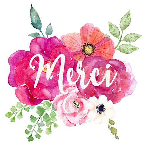 Carte de voeux  x 15  -Merci fleuri- Réf DA035