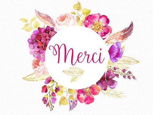 Carte message fleuriste x 25 - Merci Fleurs