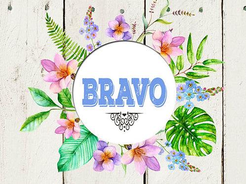 Carte message fleuriste x 25 - Bravo sur fond bois style tropical
