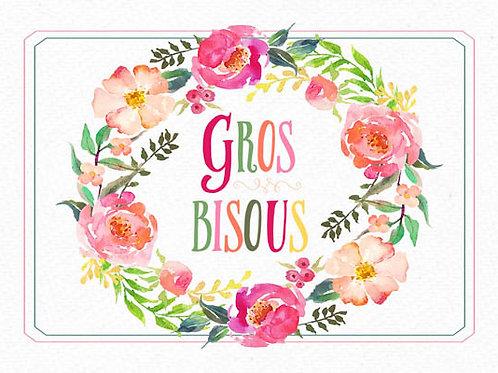 Carte message fleuriste x 25 - Gros Bisous Couronne Florale