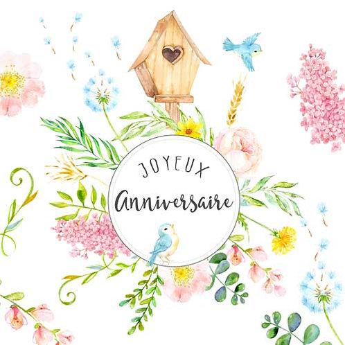 Carte de voeux  x 15  -Joyeux Anniversaire Nichoir oiseau- Réf DA015