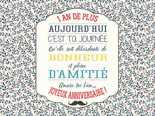 Carte message fleuriste x 25 - Anniversaire Liberty II