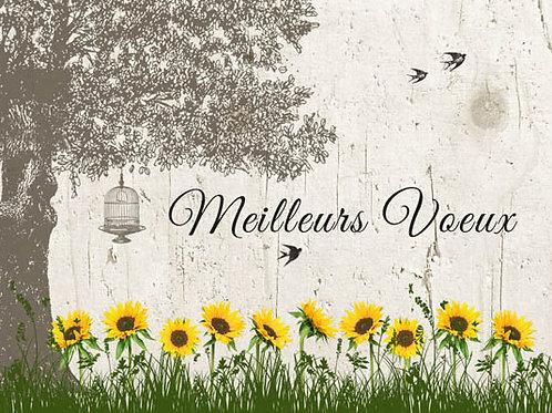 Carte fleuriste x 25  -Meilleurs voeux et tournesols- Réf FL029