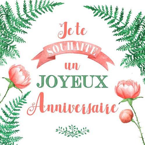 Carte de voeux x 15  -Joyeux Anniversaire fougères et pivoines- Réf DA002