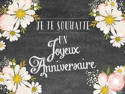 Copie de Carte message fleuriste x 25 -  Anniversaire Ardoise Marguerite