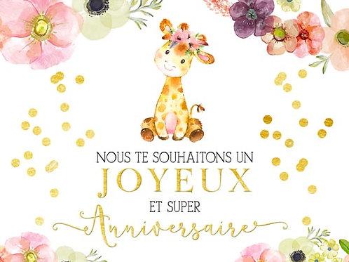 Carte fleuriste x 25 - Anniversaire Girafe