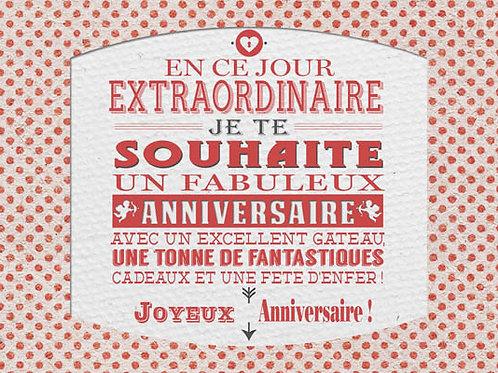 Carte message fleuriste x 25 - Anniversaire Rétro