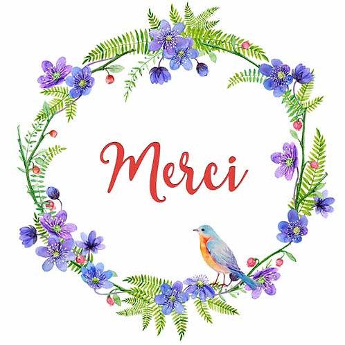 Carte de voeux  x 15  -Merci couronne de fleurs- Réf DA027