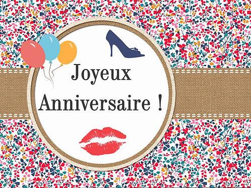 Carte fleuriste x 25 -Anniversaire Rouge à lèvres- Réf FL009