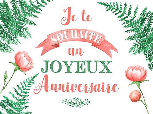Carte fleuriste x 25 - Anniversaire Pivoine