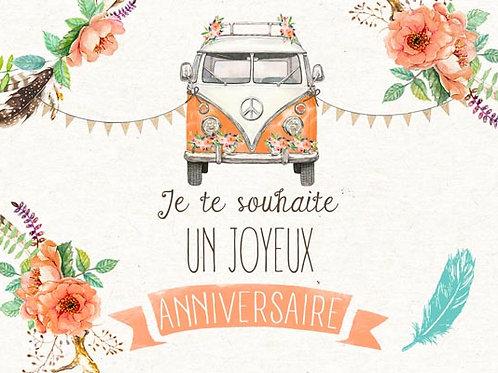 Carte fleuriste x 25 - Combi Van Bohème Fleurs
